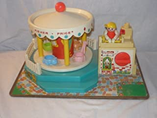 VINTAGE 1972 FISHER PRICE LITTLE PEOPLE MERRY GO ROUND- WORKS AWESOME AND LITHOS IN EXCELLENT CONDITION