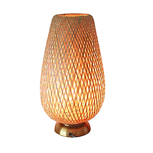 Lampara Mesa Salon Lámpara de mesa tejida a mano, artesanías de bambú, lámpara de mesa de dormitorio, lámpara de mesa de estudio, lámpara de noche, sala de estar lámpara de mesa decorativa Diseño Crea