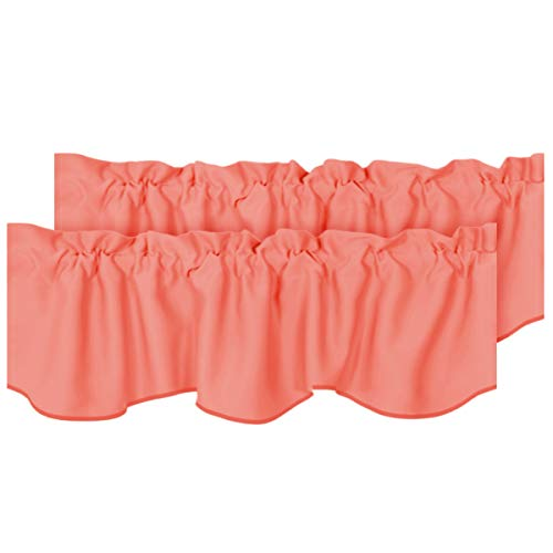 H.VERSAILTEX 2 Panels Blackout Curtain Valances for Kitchen Windows/Living Room/Bathroom Privacy Protection Rod Pocket Decoration Scalloped Winow Valance Curtains, 52' W x 18' L, Coral
