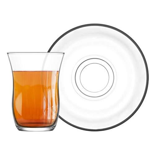 Lav 12 Stück Harman Glas Tee Tasse und Untertasse Set - Türkisch Stil Tulip Gläser für Tee, Kaffee - Clear - 95 ml