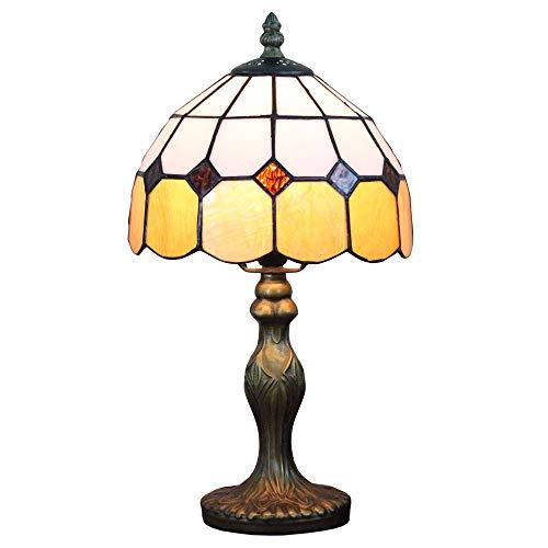 Tokira Tiffany Stil Handgefertigte Klassische Gelbe Mediterrane Tischlampe, 8 Zoll Glasmalerei Vintage für Schlafzimmer, Kommt mit LED-Glühbirne