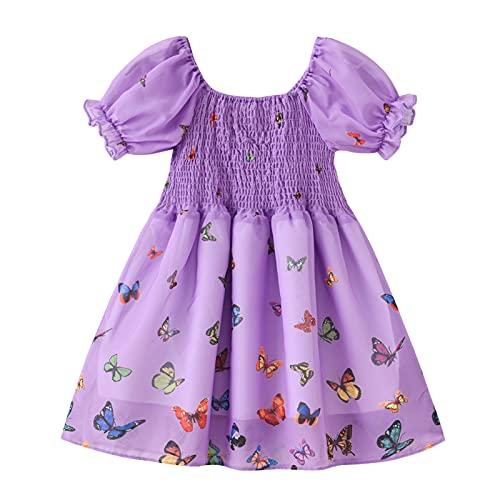 Vestido de verano de una pieza con estampado de mariposa para niñas pequeñas