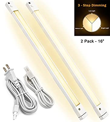 LED Concepts Under Cabinet Light Bar, 3 Dimming Levels, Ultra Slim Linkable Plug In LED Light - Great for Kitchen, Closet, Vanity, Bathroom, Task Lighting, 2700k Warm White