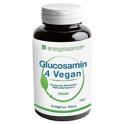Glucosamin 4 Vegan 733mg pro Kapsel - Vier vegane Inhaltsstoffe in einem zum Wohlbefinden: Glucosamin, Chondroitin, MSM (Methylsulfonylmethan) und Acerola-Vitamin C - 90 Kapseln