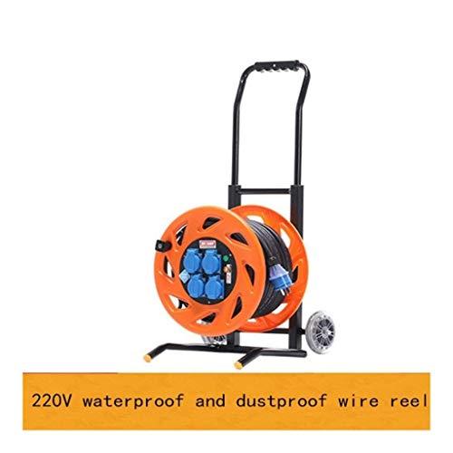 Enrollador de cable de extensión retráctil Enchufe maestro Cuatro enchufes Cable de extensión de carrete de cable medio abierto con manija, carrete de cable 80-200M 220V 13A, extensión naranja (están