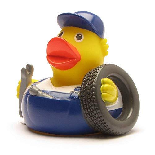 Duckshop I Badeente I Quietscheente I lustige Badeente KfZ-Mechaniker - L: 8 cm - inkl. Badeenten-Schlüsselanhänger im Set