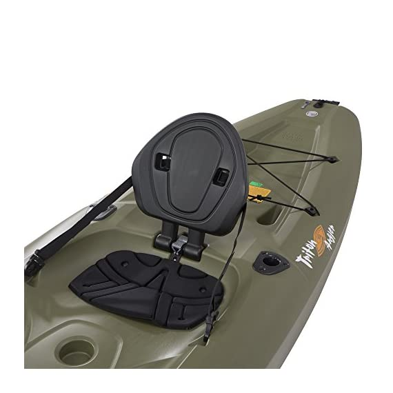 Lifetime triton angler 100 fishing kayak, olive green 5 stable hull design and integrated skeg for tracking performance multiple footrest positions for different size paddlers - 275 lb. Weight capacity self-bailing scupper holes to drain water from the cockpit and tankwell