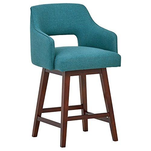 Marca Amazon -Rivet Malida - Taburete de cocina con asiento giratorio y respaldo abierto estilo Mid-century, 94 cm de alto (azul agua)