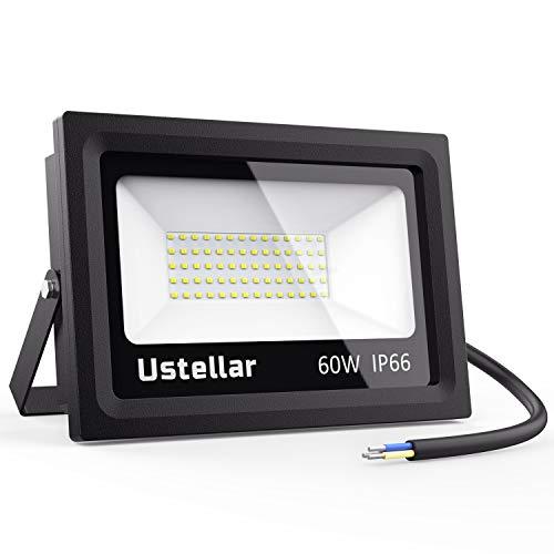 Ustellar LED Strahler außen 60W, LED Fluter 4800lm Superhell 5000K Tageslichtweiß, Außenstrahler IP66 Wasserdicht LED Scheinwerfer 230V für Garten Garage, Sportplat, Keller