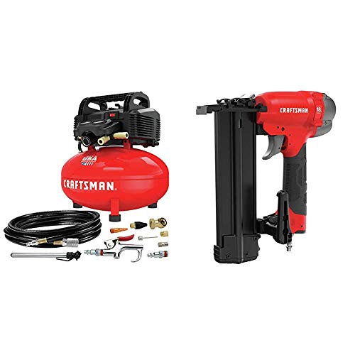 CRAFTSMAN Air Compressor, 6 gallon, Pancake, Oil-Free with 13 Piece Accessory Kit (CMEC6150K) & 18Ga Finish Nailer (CMPBN18K). Buy it now for 247.00