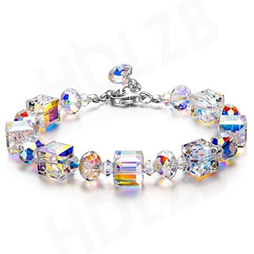 ZHURGN Pulseras para Mujeres, Pulsera de joyería de Cristal Aurora Borealis, Pulsera de Tres Pulgadas con Cristales, Regalos para Ella, Regalos de cumpleaños para la Esposa Mejor Amiga mamá Abuela