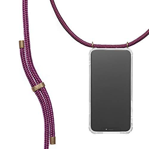 KNOK Crossbody case voor iPhone, Samsung, Huawei - Ketting Mobiele Telefoon Cover met Koord Band - Lanyard Case Houder - Mobiele Telefoonkraag (Zwart), iPhone 11 Pro Max, Wijn