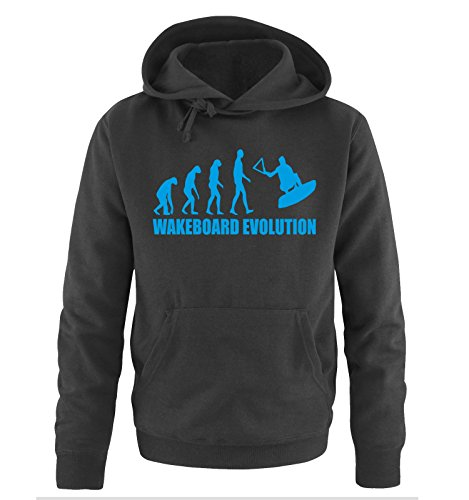 WAKEBOARD EVOLUTION -Herren Hoodie in Schwarz/Blau Gr. XL