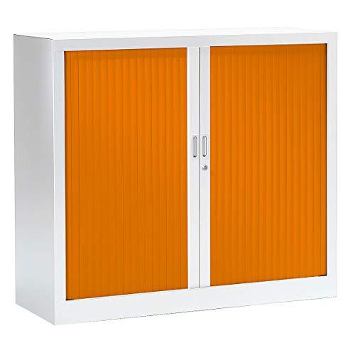 Armoire Monobloc à rideaux   Blanc   Orange   HxLxP 1000 x 1200 x 430   Certeo