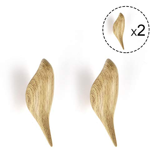 Hallway Surethingz Wooden hook 2 Pieces Wood Hook Clothes and Headphone in Bedroom Living room Wooden Coat Pegs for Hanging Coats Medium Type in Wood Color Hat Jackets Scarves