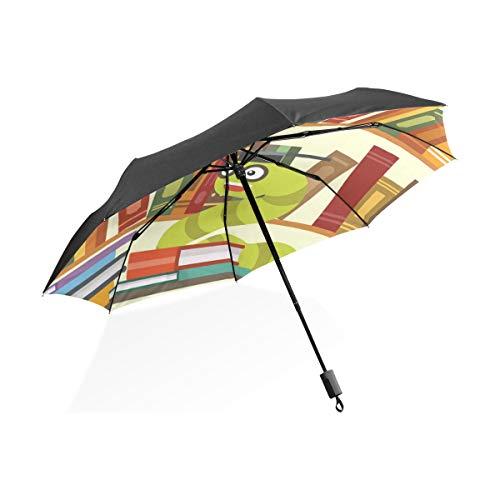 FANTAZIO Travel Umbrella Bookworm Bookshelf Sun/Rain umbrella