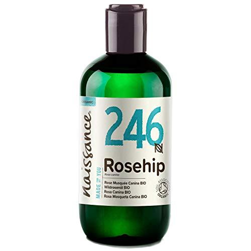 Naissance Aceite Vegetal de Rosa Mosqueta Canina BIO n. º 246 – 250ml - Puro, natural, vegano, certificado ecológico, sin hexano y no OGM - Hidrata y nutre todo tipo de pieles, el cabello y las uñas.