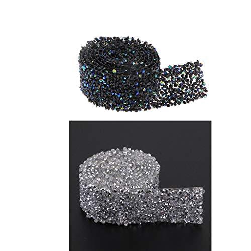 2 Unidades Cinta de Diamantes Artificial Brillante con Adhesivo de Fusión en Caliente para Adornos de Costura Artesanía
