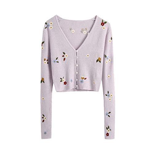 Qier Cardigan Mujer Suéter De Punto Recortado, Prendas De Vestir Exteriores Femeninas De Manga Larga Vintage, Blusas Bordadas Florales Elegantes, Caqui, M