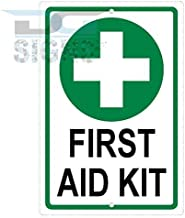 Liz66Ward First Aid Kit Green Cross Symbol Sign Aluminum Metal Signs Decorative Plaque Tin Sign Yard Sign for Home 8x12