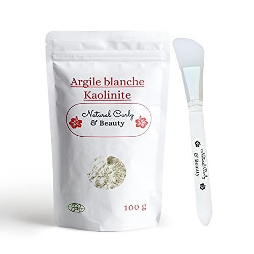 Argile blanche kaolinite avec pinceau applicateur de masque en silicone - VISAGE, CORPS et CHEVEUX - Argile provenant des carrières françaises - reminéralise et favorise lélimination des toxines