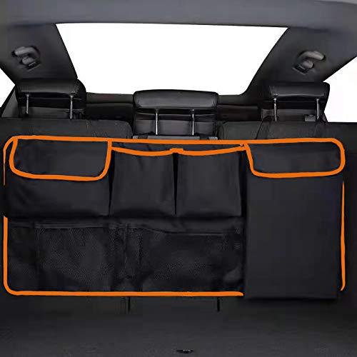 Organizador de maletero de coche Benust, organizador de maletero de coche, organizador de maletero, accesorios de interior de coche, organizador de carga plegable con 6 bolsillos, 3 correas ajustables