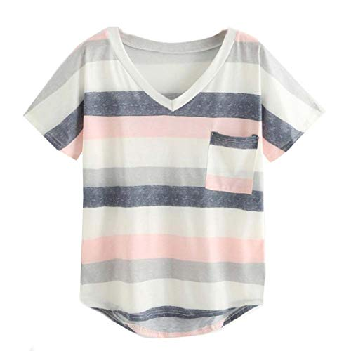 Vovotrade Dames-bovenstuk met korte mouwen T-shirt sexy strepen V-hals tas mode vrije tijd t-shirt tieners meisjes onregelmatige zoom casual lover mode zomervakanties