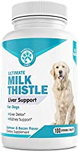 Best Milk Thistle for Dogs Liver Support & Detoxification Supplement - Promotes Natural Hepatic Liver Health - 100 Chewable Tablets (Salmon & Bacon Flavor)
