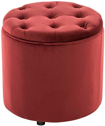 Pouf Contenitore Pantin in Velluto Design Chesterfield I Poggiapiedi Divano Contenitore con Coperchio I Sgabello Puff con Piedini, Colore:Rosso