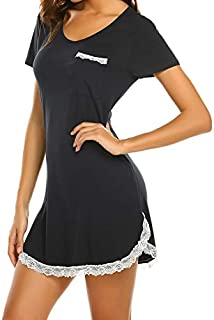 Image of Lace Trimmed Soft Cotton Nightshirt for Women - See More Colors