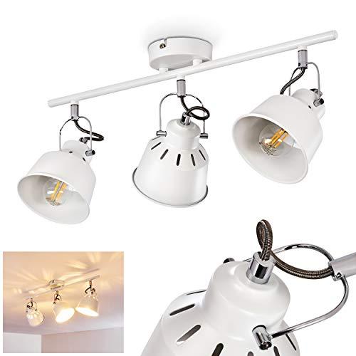 Plafondlamp Safari, metalen plafondlamp in wit, 3 vlammen, met verstelbare spots, 3 x E14 stopcontact, max. 40 Watt, spot in retro/vintage uitvoering, geschikt voor LED-lampen