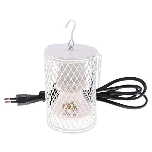 Baoblaze E27 Keramik-Wärmelampe Heizstrahler Infrarotlampe mit Schutzkorb für Reptilien/Schildkröte/Eidechse/Schlange/Geckos - Weiß-75W