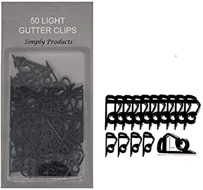 50 Gutter Hanging Hooks/Clips for Outdoor Christmas Xmas String Lights (Black)
