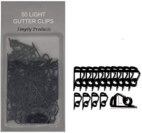 50 Gutter Hanging Hooks/Clips for Outdoor Christmas Xmas String Lights (Black)