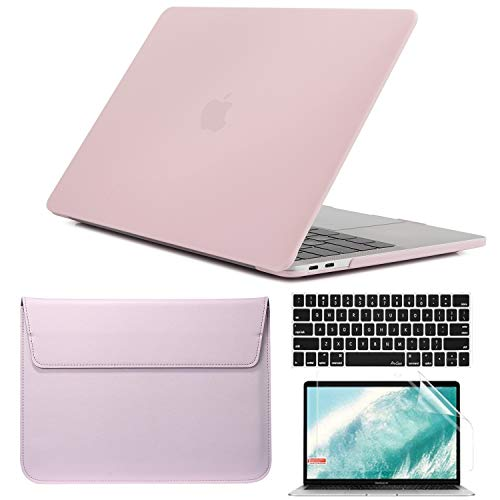 QYiD 4 in 1 Laptop Case for MacBook Air 11 Inch Model A1370 A1465, Plastic Hard Shell Case with Sleeve, Keyboard Cover & Screen Protector for MacBook Air 11.6 inch A1370 / A1465, Rose Quartz