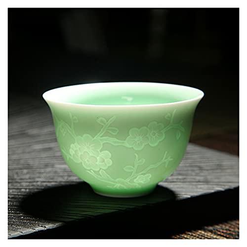 porzellantasse Handgemachtes blaues und weißes Porzellan mit Schattenblau geschnitzt Unsichtbarer Lotus-Muster Teetasse Master Cup Tee Becher Keramik porzellantasse bone china ( Color : Plum No 1 )
