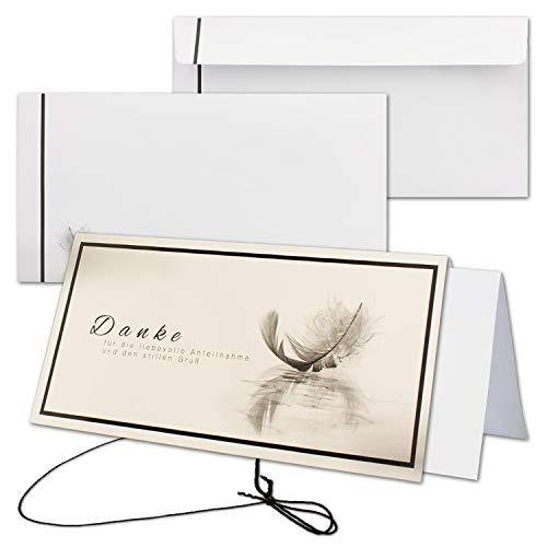 10x Trauerkarten-Set Hilde - Feder-Motiv - DIN Lang Danksagung Komplett-Paket mit Umschlag & Einlege-Blätter & schwarzem Schmuck-Band - Trauer-Papiere by Gustav NEUSER