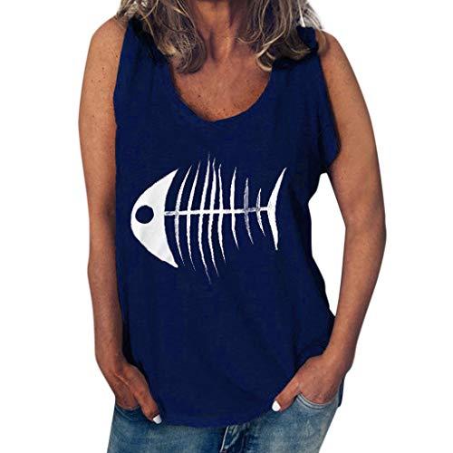 Severkill Summer Clothes-Tops&Dresses, Womens Casual Funny Fish Bone Print Vest Sleeveless Tank Tops T Shirt Blouse Navy