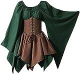 Vagbalena Vestido Tradicional irlandés para Mujer Corto Traje Medieval Vestido renacentista Elfo con corsé Vestido Victoriano de Halloween (Green,S)