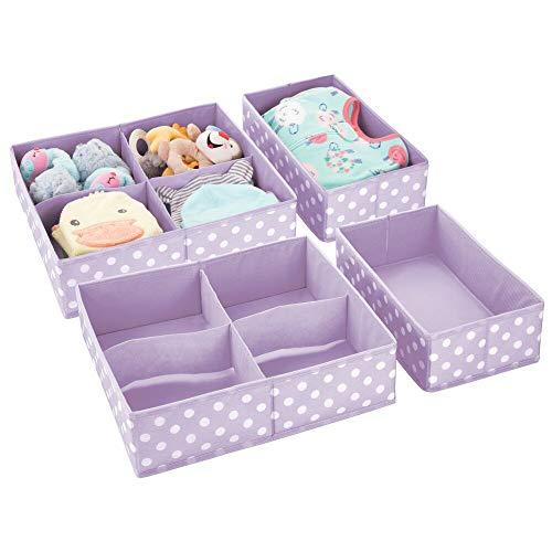 mDesign 2er-Set Aufbewahrungsbox fürs Kinderzimmer – Faltbare Kinderzimmer Aufbewahrungsbox in 2 Größen für Babykleidung – Kinderschrank Organizer aus atmungsaktiver Kunstfaser – lila/weiß gepunktet
