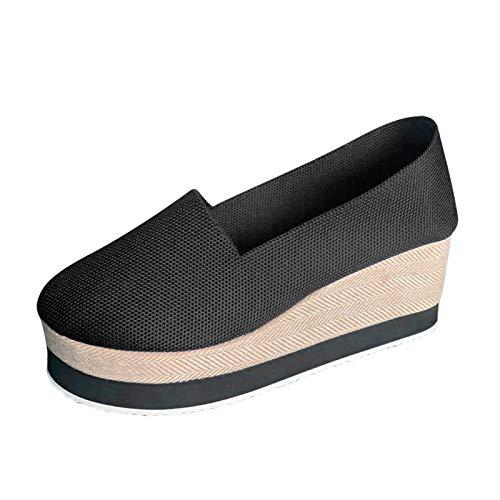 DAIFINEY Damen Slippers Espadrilles Plateauschuhe Wedge Platform Freizeitschuhe Walkingschuhe Freizeitschuh Mokassin Loafers leichte Sommer Pantoffeln Hausschuhe(1-Schwarz/Black,41)