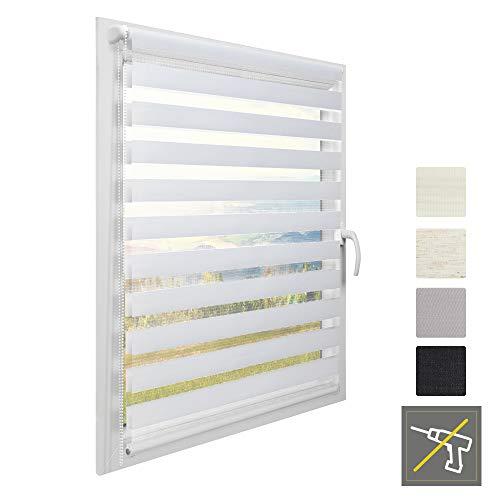 Sol Royal Doppel Rollo für Fenster ohne Bohren Klemmfix SolDecor DL2 90 x 150 cm Doppelrollo Weiß Fenster Vario Duo Rollo & Klemmträger