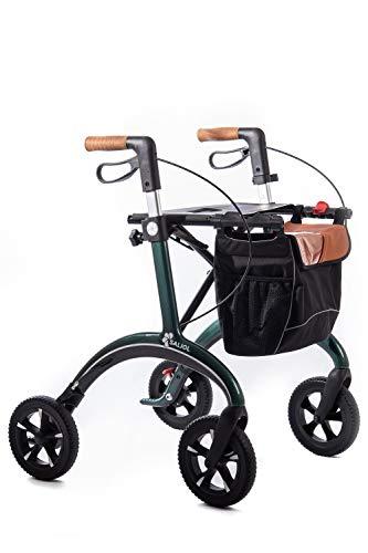 Leichtgewichts Rollator aus Kohlefaser von Saljol mit Soft-Bereifung, höheneinstellbare Korkgriffe, Sitzhöhe 62cm, british racing green