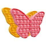 JOYPRO Popper Bubble Fidget Sensory Toy, Silicone Push Bubble Stress Reliever Toys, Squeeze Popper Sensory Toy for Kids Girls Boys (2 Pack Butterfly,Pink & Yellow)