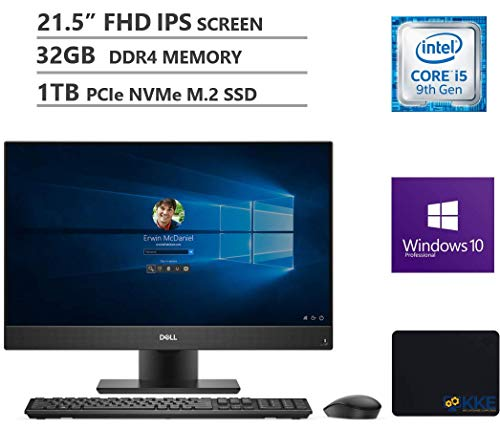 Dell OptiPlex 5270 All-in-One Business Desktop, 21.5' FHD Display, Intel Core i5-9500 6 Cores Processor up to 4.4GHz, 32GB DDR4 RAM, 1TB PCIe SSD, Webcam, Windows 10 Pro, Black, KKE Mousepad