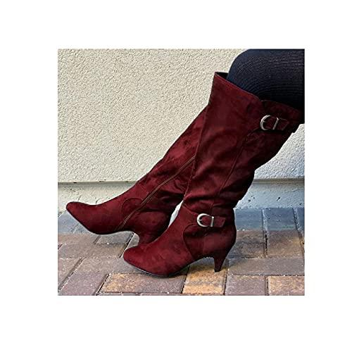 JUNSHANG Stivali da Donna High-Top Knight da Donna, Autunno e Inverno Fibbia a cinghia del Tacco Alto Medio Tubo Scarpe equitazione Scarpe domestiche all'aperto Scarpe da casa,Red-37
