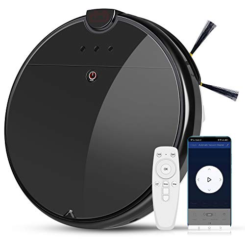 AQwzh FR-6 Robotic Vacuum Cleaner, 1800Pa Strong Suction, App Control, Automatic Self-Charging Robot Vacuum for Pet Hair, Hard Floor, Dining Features Kitchen Robotic Vacuums