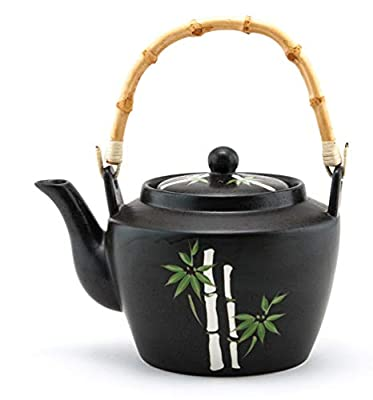 Japanese Traditional Ceramic Dobin Teapot with Rattan Handle 60 fl oz Tea Kettle with Stainless Steel Infuser Strainer for Loose Leaf Tea (Asian Bamboo)