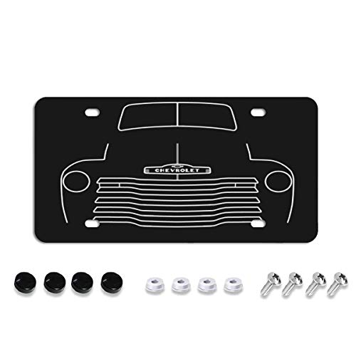 1949 Chevy 3100 stepside classic pickup truck outline graphic License Plate Front Aluminum Metal License Plate Auto Car Tag Novelty Home Decor Signs for Women Men 6 inch X 12 inch