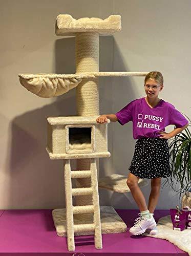 Petrebels Kratzbaum Grosse Katzen stabil Ragdoll 180 Beige XXL Kratzmöbel für Maine Coon und große Katzen